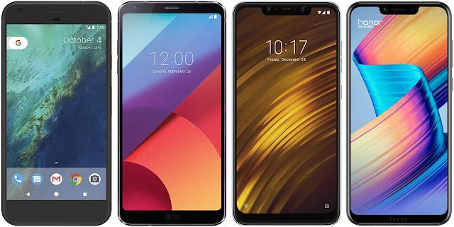 Google Pixel XL vs LG G6 vs Xiaomi Pocophone F1 vs Honor Play