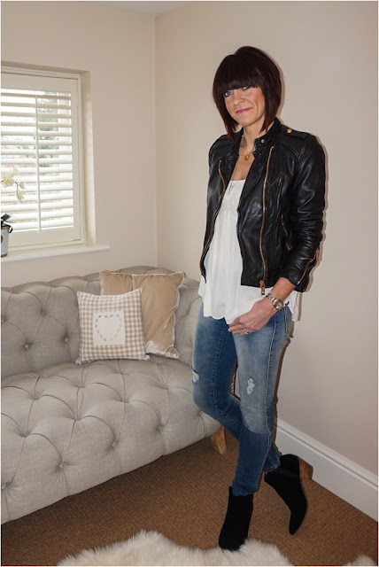 My Midlife Fashion, Zara Leather Biker Jacket, Harry Rocks Entwined Initials Pendant, Boho Top, Zara distressed skinny jeans, black ankle boots Mango