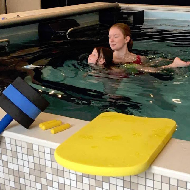 A one-on-one learn-to-swim lesson in the Dual Propulsion Endless Pool at Wise Physical Therapy and Sports Medicine