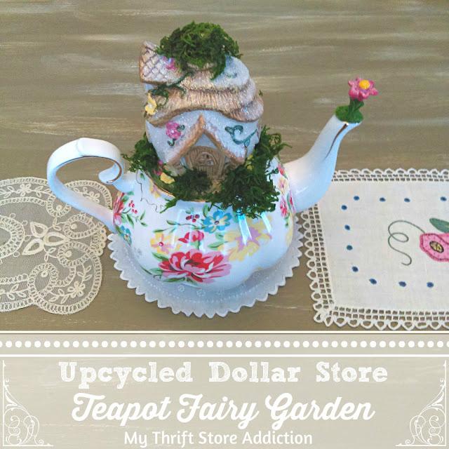 Upcycled teapot fairy garden
