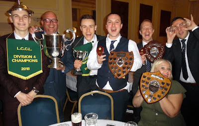 Brigg Town Cricket Club celebrating a big haul of trophies at the Lincolnshire County Cricket League's annual dinner, held at Hemswell Court on March 29, 2019