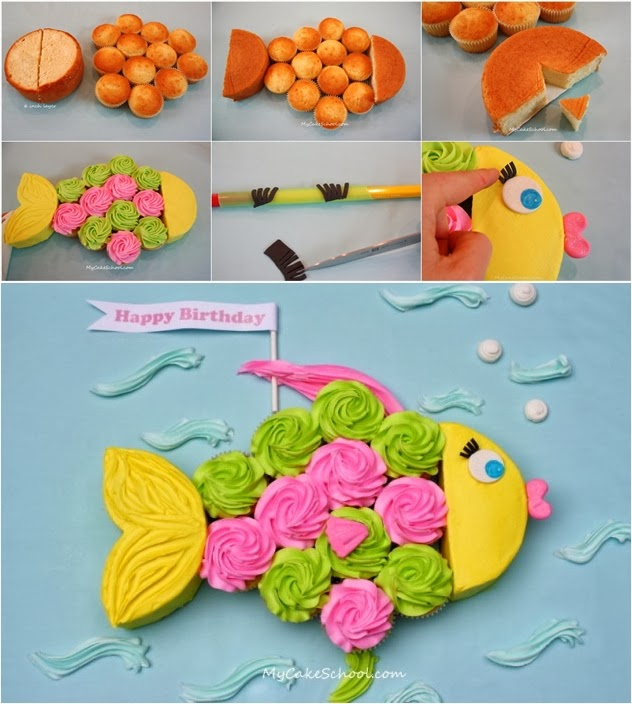 Fish Shaped Cupcake Cake