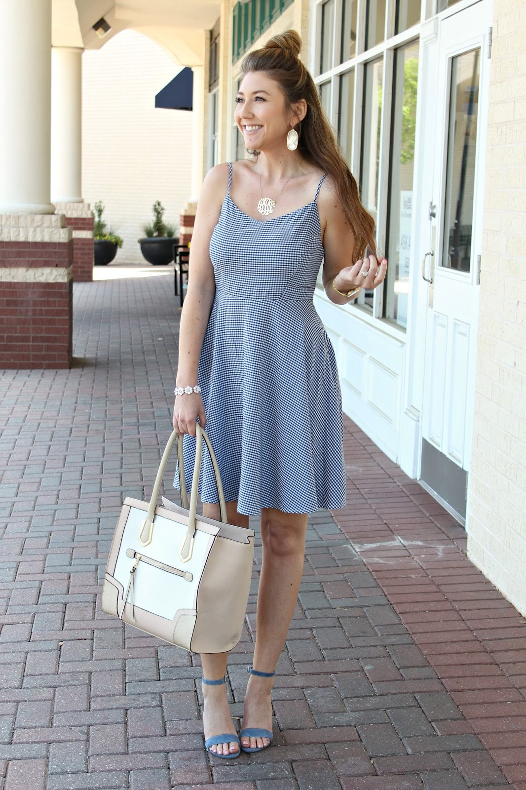 Old Navy Cami Dress  Steve Madden Heels  Target Tote  Monogram  Necklace  Kendra Scott Earrings