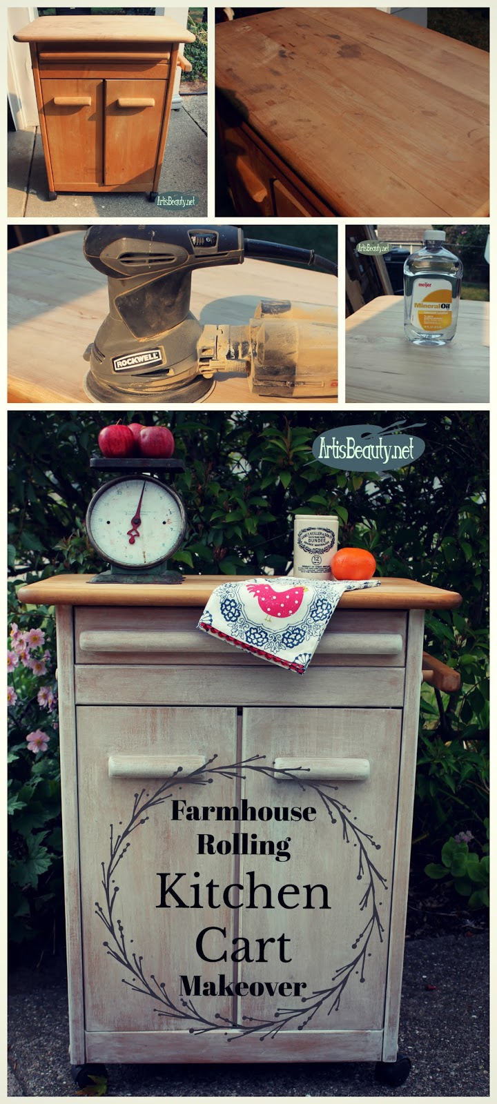 Fabulous farmhouse rolling kitchen cart makeover diy before and after vintage butcher block refinishing