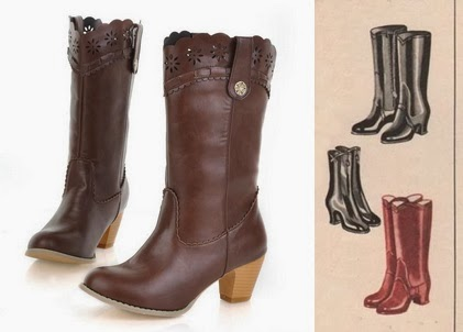 cheap vintage war era 1940s womens  knee high boots under $50