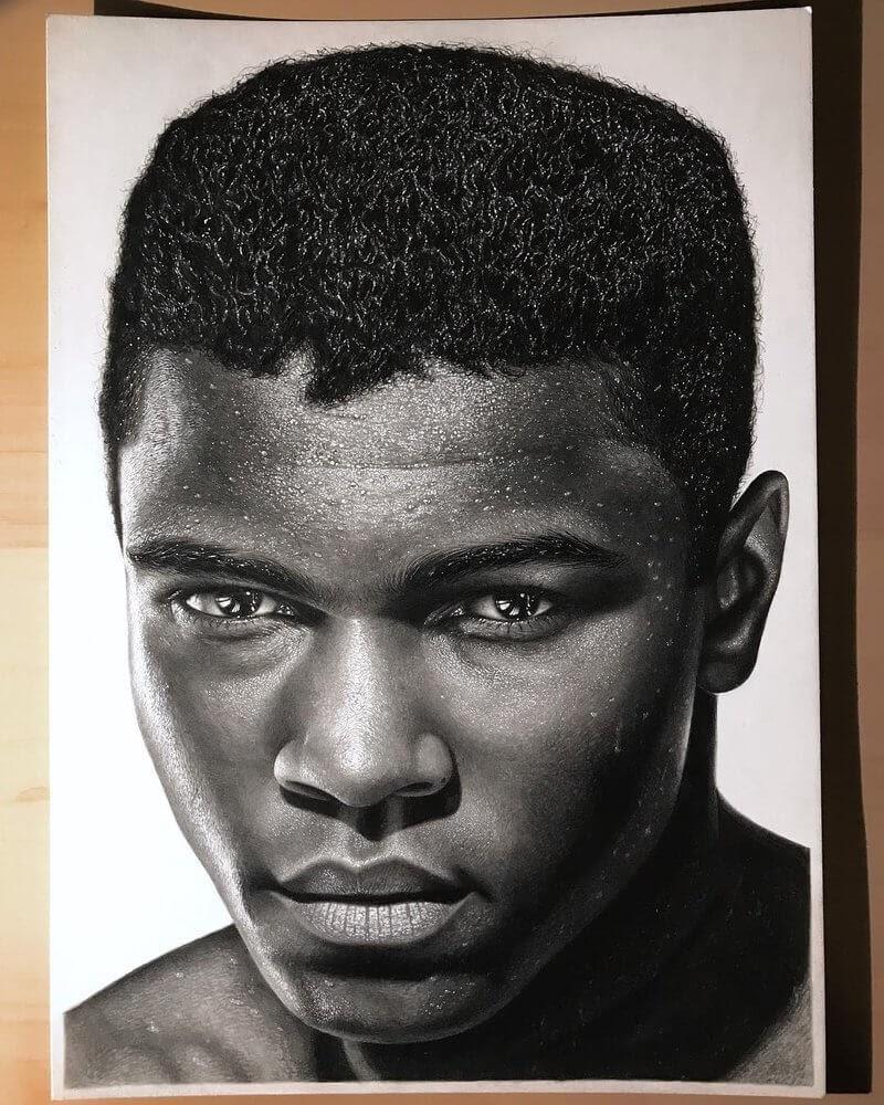 05-Muhammad-Ali-Gurekbal-Bhachu-Realistic-Celebrity-Portraits-Drawings