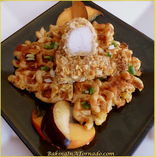 Mac and Cheese Waffles with Honey Bunches Chicken | Recipe developed by www.BakingInATornado.com | #recipe #waffle #chicken