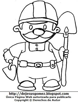 Dibujo de un trabajador albañil con su lampa y plancha para construcción para colorear pintar imprimir recortar y pegar. Dibujo de un trabajador hecho por Jesus Gómez