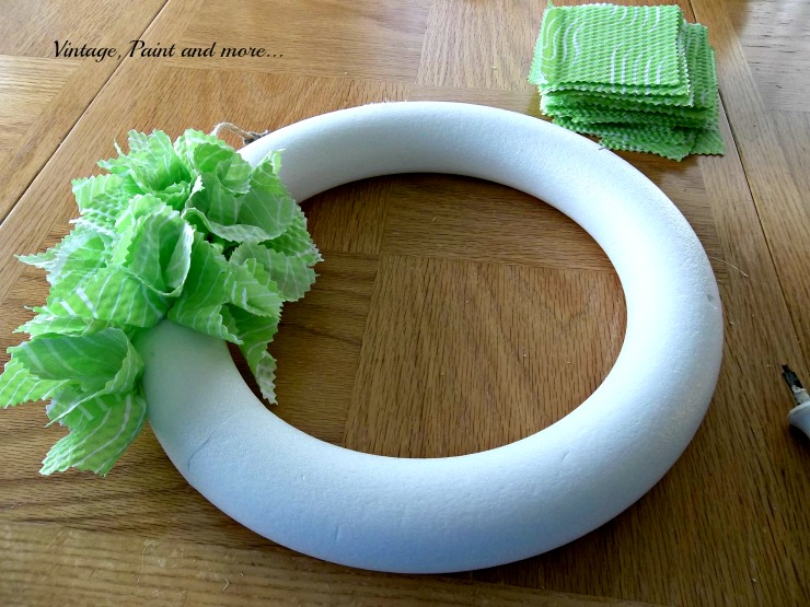 Vintage, Paint and more... Another view of the placement of fabric for a Spring Wreath