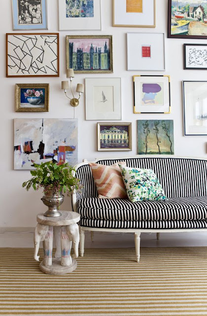 Black and White Striped Sofa and Gallery Wall Inspiration