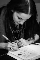 "Molly Crabapple signing book at ""Zee Jaipur Literature Festival 2016"""