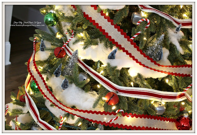 Farmhouse Christmas Tree-Jingle Bell Garland-Classic Bulbs-DIY Candy Canes- From My Front Porch To Yours