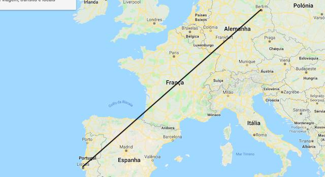 Mapa da viagem de trem de Berlim a Lisboa