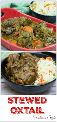 Stewed Oxtail: A popular Caribbean dish of slow cooked oxtail in a stew of sweet and savory spices. #HomeMadeZagat