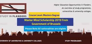 Master Mind Scholarships Study In Flanders Masters Programme, Brussel & Flanders