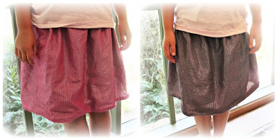 image reversible gathered skirt in pink purple silver shimmer