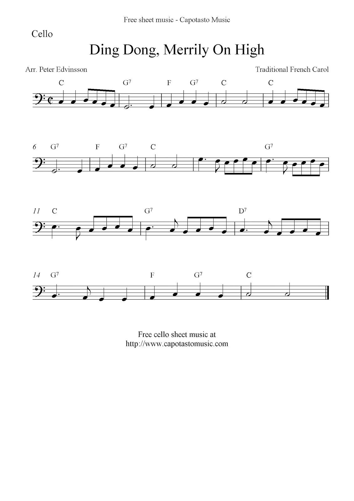 Free Christmas Cello Sheet Music