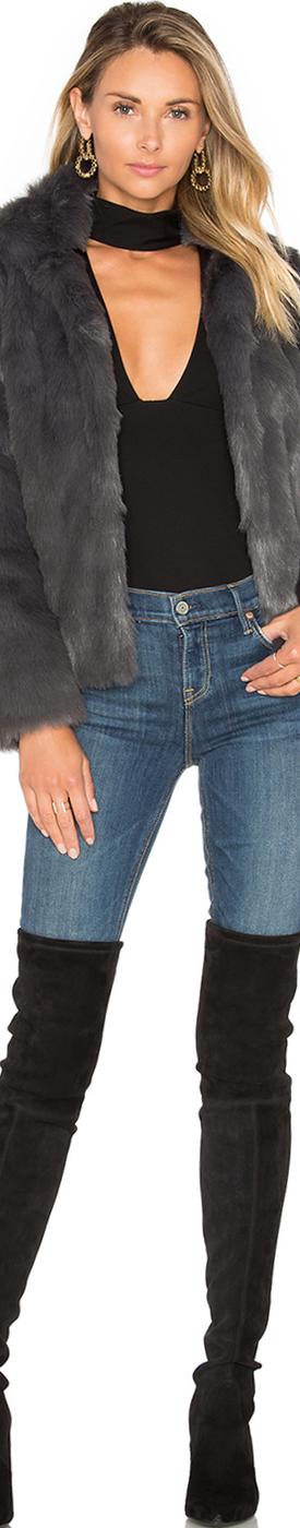 LOVERS + FRIENDS X Revolve Mia Faux Fur Jacket Grey