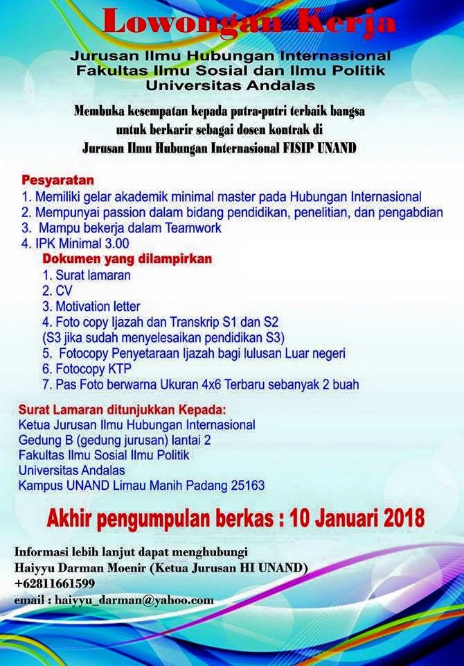 Lowongan Dosen ilmu Hubungan Internasional Universitas Andalas (UNAND) Padang