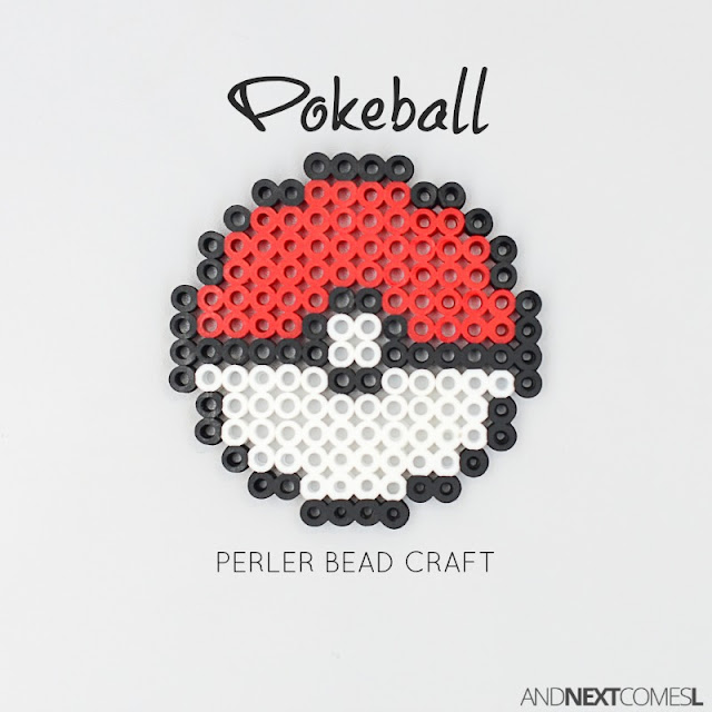 Easy Pokemon craft for kids - make a pokeball out of perler beads from And Next Comes L