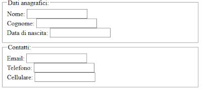 HTML: abbellire i form con le fieldset