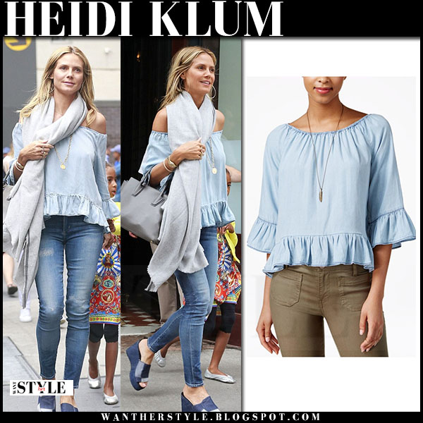Heidi Klum in blue off shoulder top sanctuary and skinny jeans what she wore streetstyle