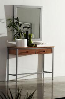 comoda forja y madera, consola recibidor forja, mueble entrada forja madera