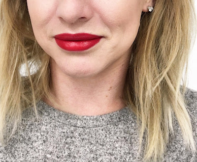 short blonde hair and red lipstick