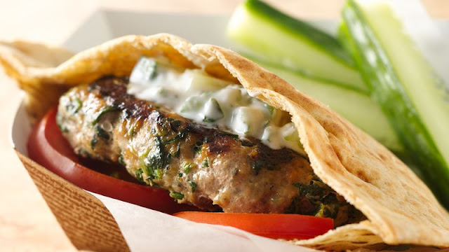 Greek Turkey Burgers with Minted Cucumber Sauce Greek Turkey Burgers with Minted Cucumber Sauce Recipe