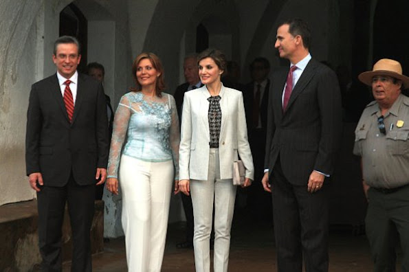 King Felipe VI and Queen Letizia of Spain, Governor of Puerto Rico, Alejandro Garcia Padilla and First Lady Wilma Pastrana as part of their arrival to La Fortaleza