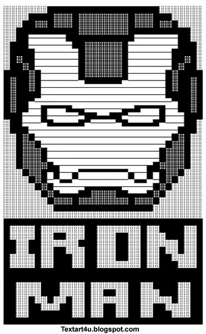 Iron Man Face Mask Text Art ASCII Unicode Cool ASCII Text Art 4 U - cool text message art