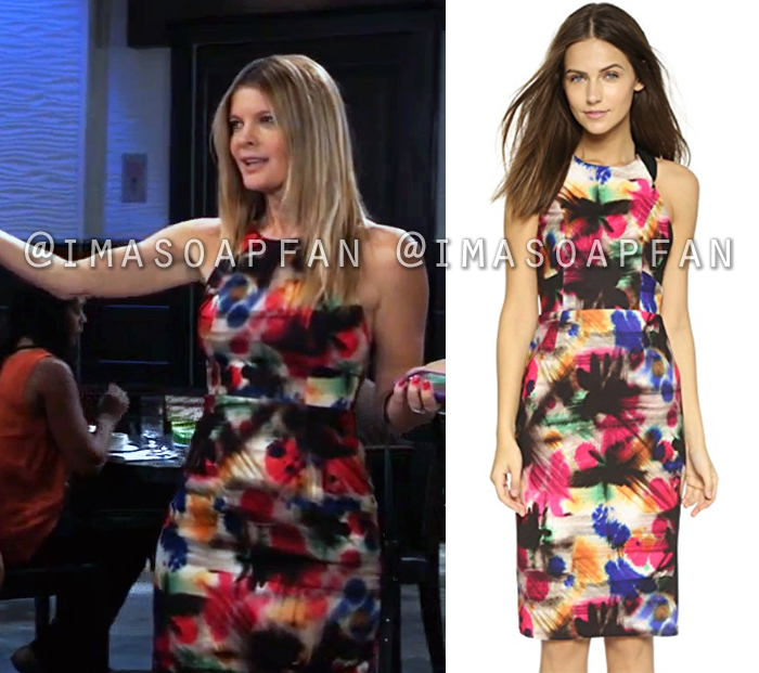 Nina Reeves, Michelle Stafford, Multicolored Graffiti Print Dress, General Hospital, GH