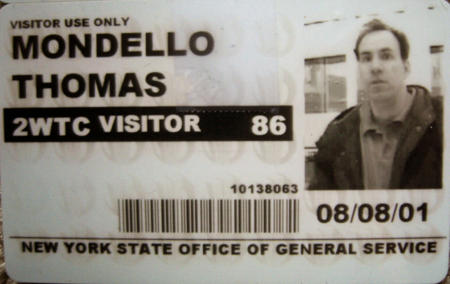 Tommy Mondello World Trade Center pass August 8, 2001
