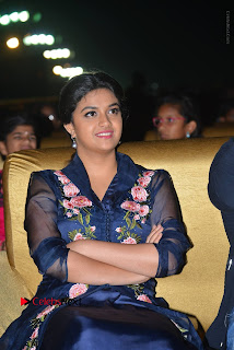 Actress Keerthi Suresh Stills in Blue Long Dress at Nenu Local Audio Launch  0031.JPG