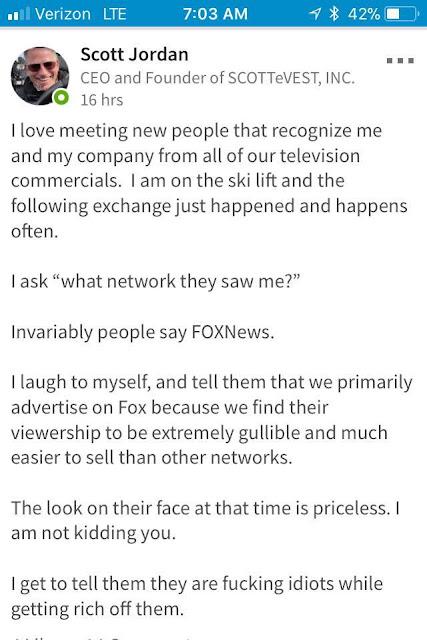 scott jordan calls fox news viewers fucking idiots