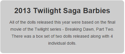 2013 Twilight Barbie Dolls