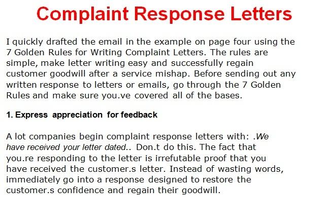 business response letter template - complaint business letters
