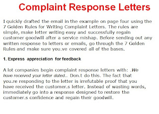Business letter sample november 2012 for Customer response letter templates