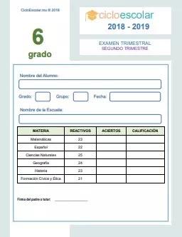 Examen Trimestral Sexto grado 2018-2019