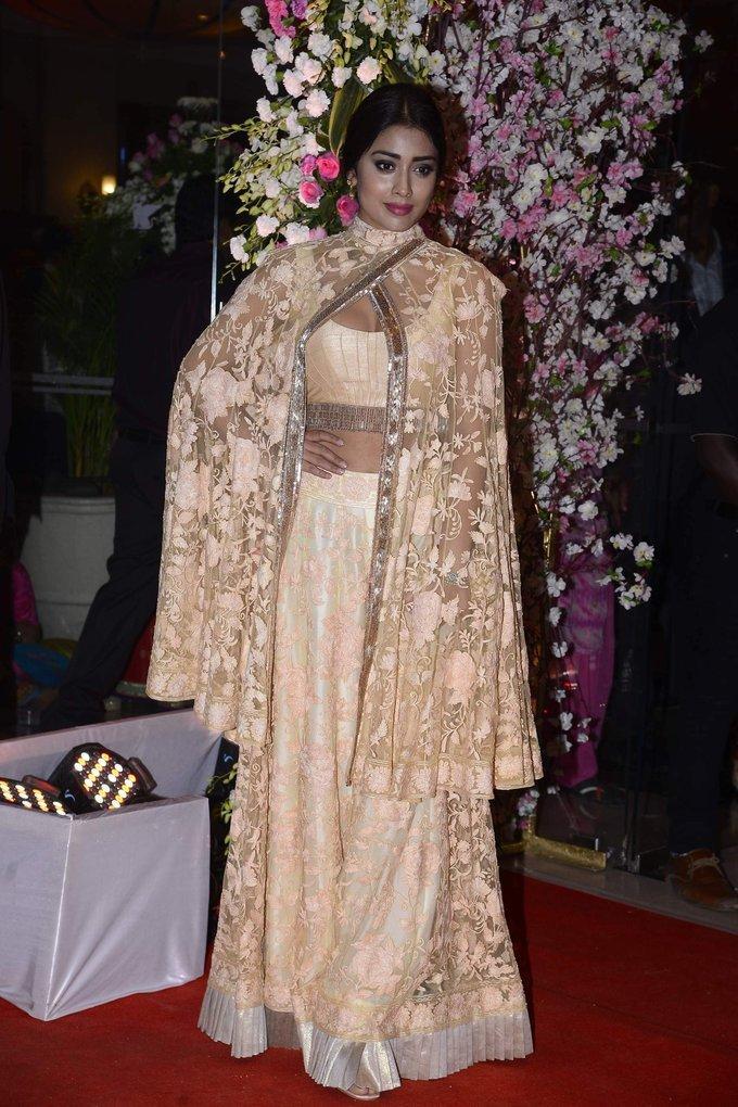 Model Shriya Saran At Wedding Reception In Pink Dress