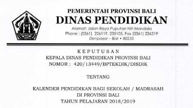 Kalender Pendidikan Provinsi Bali Tahun Pelajaran  KALENDER PENDIDIKAN PROVINSI BALI TAHUN PELAJARAN 2018/2019