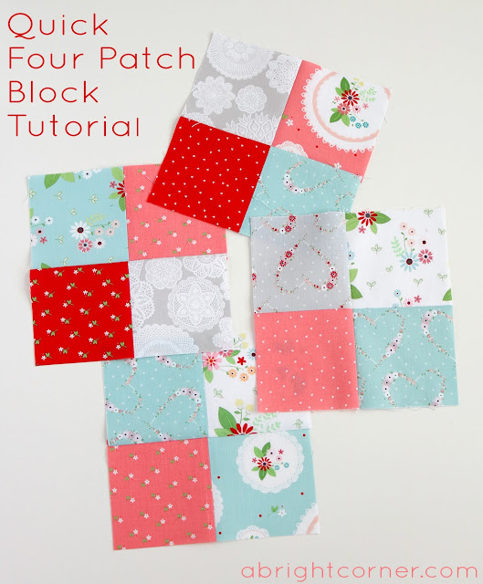 Quick Four Patch Block Tutorial by Andy of A Bright Corner