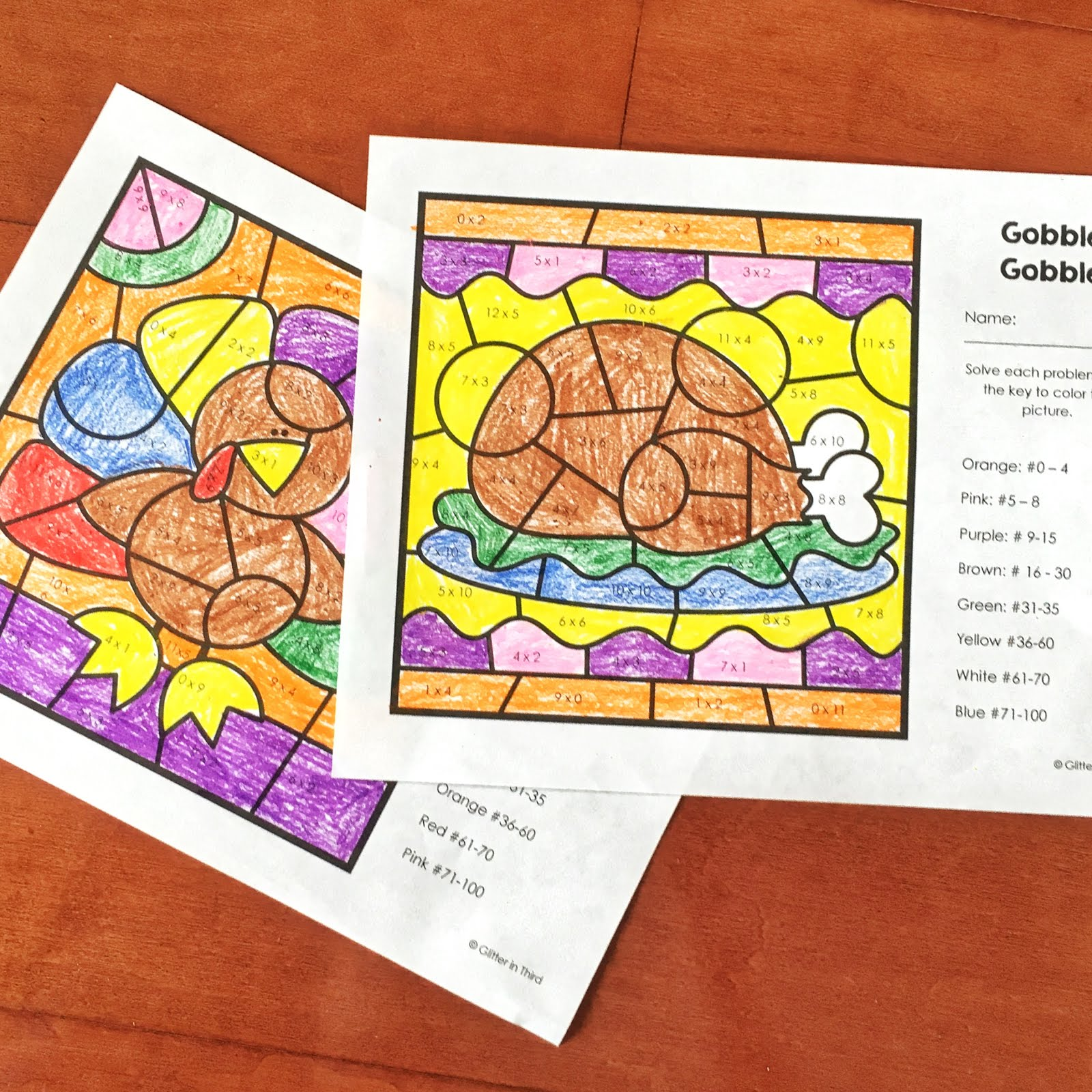 Want A Free Thanksgiving Multiplication Color By Number