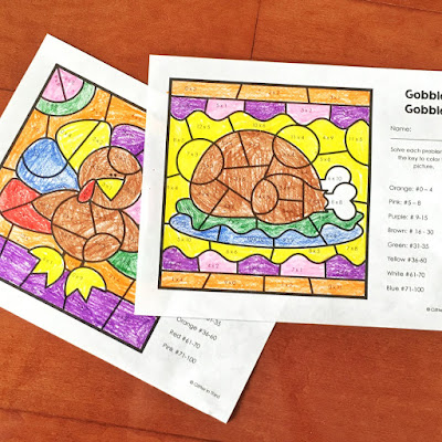 Download a free Thanksgiving multiplication color by number worksheet for your elementary classroom.
