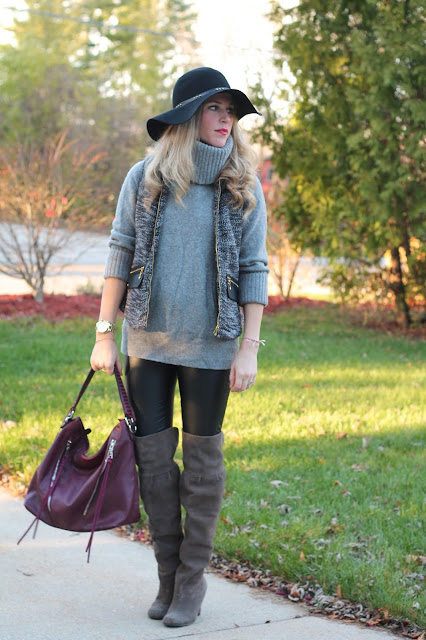 tweed vest, grey sweater, leather pants, burgundy bag, OTK boots, floppy hat