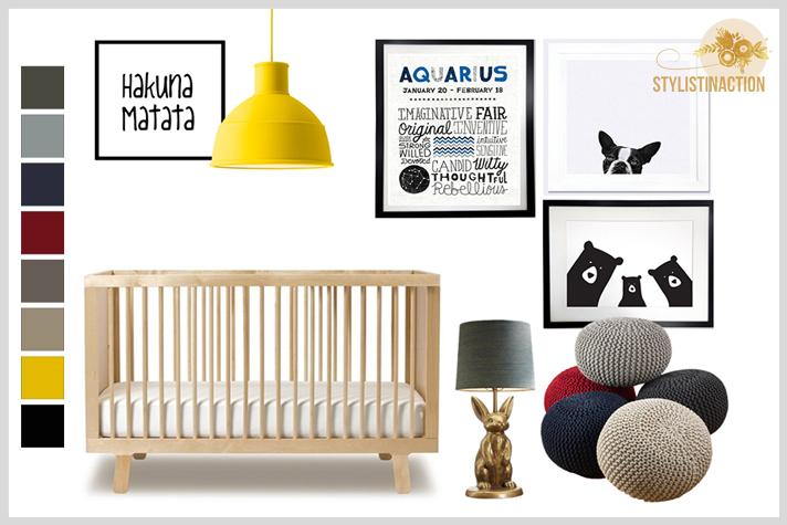 Deco Styling para bebes - cuarto no tradicional en neutros intensos con foco en amarillo