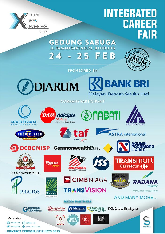 Xtalent Expo Nusantara Integrated Career Fair Gedung Sabuga 24 - 25 Februari 2017