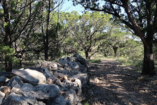 a .75 mile long rock wall on Foshee Trail