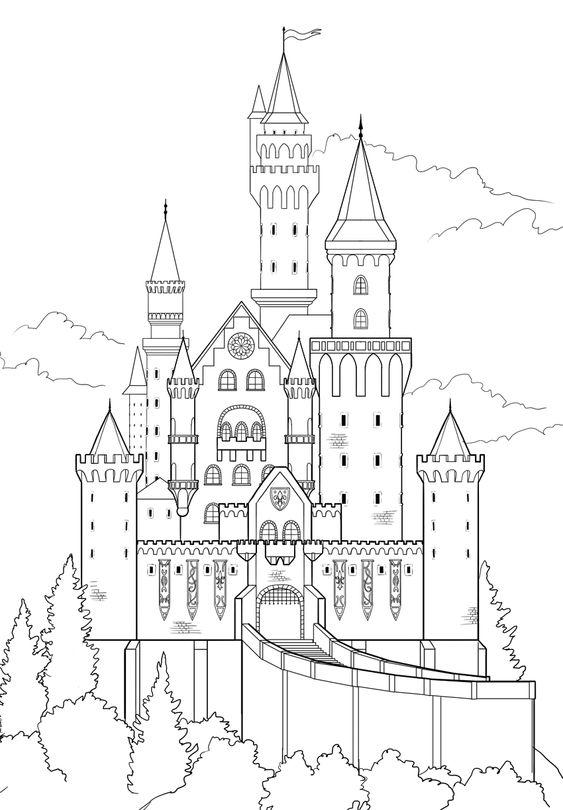 Tranh cho bé tô màu lâu đài 2