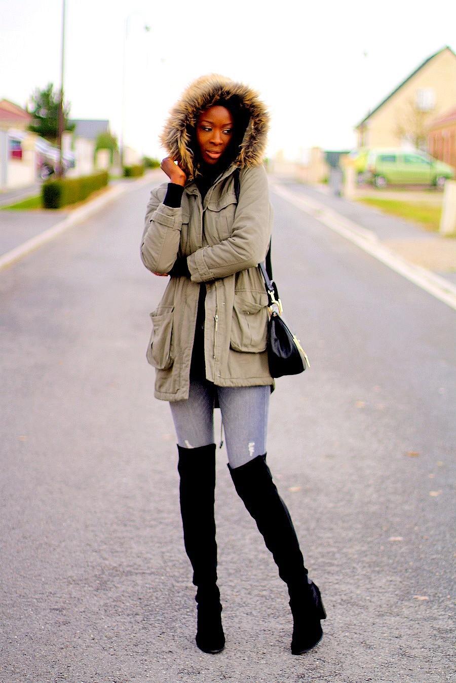 parka-kaki-col-fourrure-cuissardes-chloe-drew-bag-blogger-style